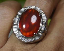 78.25 CT  UNTREATED Clear Indonesian Red Chalcedony With Ring