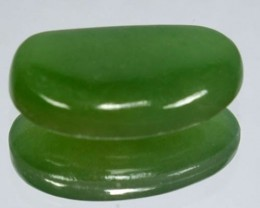 2.43Cts natural Green Jade Cabochon Burmese Gem