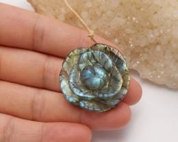 61.5ct Natural labradorite carved flower pendant semi-precious stones (A41)