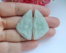 36.5ct Natural amazonite carved flower earring beads semi-precious stones(A