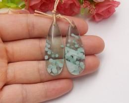 38ct Natural green onyx earring beads semi-precious stones(A19)