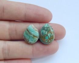 10ct Natural blue opal cabochon pairs semi-precious stones (A25)