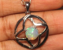Natural Ethiopian Fire Opal 925 Sterling Silver Pendant Necklace 18
