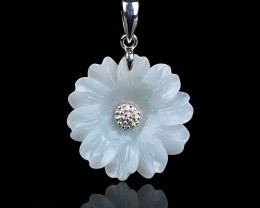 20.5ct Natural amazonite carved flower 925 silver necklace (H1006)
