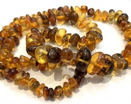 "Huge Honey Gold  Baltic Amber Nugget Necklace 26"" long"
