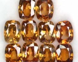 24.75 Cts Natural Orangish Yellow Zircon Cushion 10 Pcs Parcel