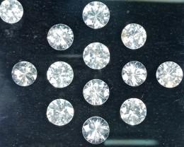 40.50 Cts Natural White Zircon Diamond Cut Round 8mm