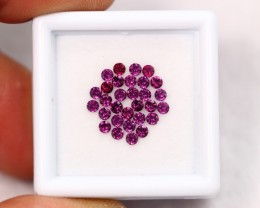 Lot 11 ~ 1.30Ct Natural Round VVS Clarity Purple Rhodolite