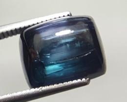 7.5 Carats Blue Indicolite  Tourmaline  Cats Eye Cabochon