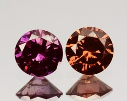 ~PAIR~ 0.20 Cts Natural Brownish Pink Diamond Round Africa