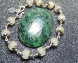 Zoisite stone~ white quartz bracelet ~ nice 98.5 silvers  190.40cts
