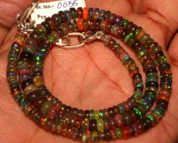 55 Crt Natural Ethiopian Fire Smoked Black Opal Beads Necklace 55