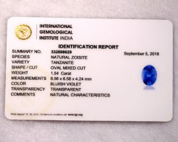 1.54cts Natural Tanzanite IGI Certified