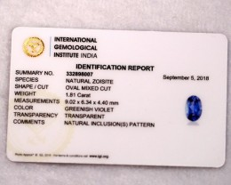 1.81cts Natural Tanzanite IGI Certified
