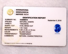 1.52cts Natural Tanzanite IGI Certified