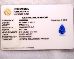 1.92cts Natural Tanzanite IGI Certified