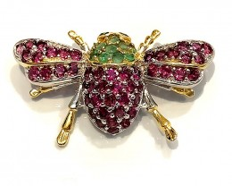 OMG Pink Rhodolite Garnet  Bee Brooch 14kt Gold Sterling