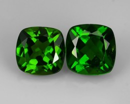 2.05 Cts Eye Catching Natural Rich Green Chrome Diopside Cushion Pair