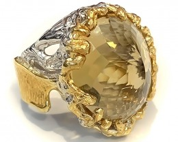 Solitaire Citrine 'Energy' Ring Size 9.5 .925 Sterling Silver with 14kt Gol