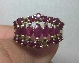 (B2) Beautiful $1400 Nat 1.25ct Ruby Ring 10K YG 3.6gr