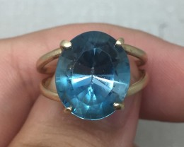 (B3) Stunning $1500 Nat. 5.0ct Blue Topaz Ring 14K YG 4.98gr