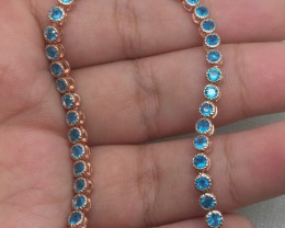 (B15) Gorgeous Nat 51.5tcw. Top Neon Blue Apatite Bracelet
