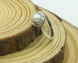 CERTIFIED  RING 925 STERLING SILVER PEARL NATURAL GEMSTONE JE1137