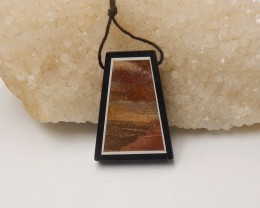 62.5 Natural Black Stone And Ocean Jasper Intarsia Drilled Pendant Bead (mg