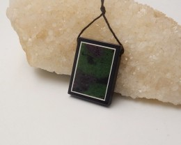 64cts Natural Black Stone, Ruby And Zoisite Gemstone Intarsia Drilled Penda