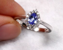 11.38cts Violet Tanzanite 925 Sterling Silver Ring US 6