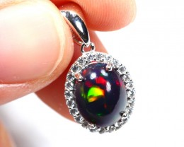 6.82cts Black Opal 925 Sterling Silver Pendant