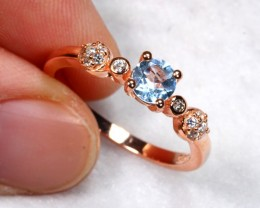 11.37cts Blue Topaz 925 Sterling Silver Ring US 7.75