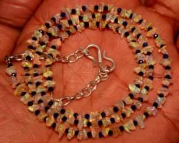 Natural Ethiopian Fire Uncut Opal & Lapis Lazuli Beads Necklace 5