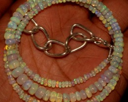 44 Crts Natural Ethiopian Welo Fire Opal Beads Necklace 5