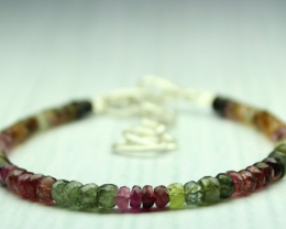 23 Crt Natural Multi Tourmaline Faceted Beads Bracelet 9
