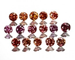 0.95 Cts Natural Brownish Pink Diamond 16 Pcs Round Cut Africa