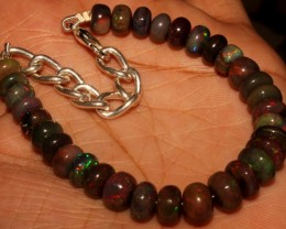 46  Crt Natural Ethiopian Fire Smoked Black Opal Beads Bracelet 0035