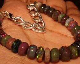 51 Crt Natural Ethiopian Fire Smoked Black Opal Beads Bracelet 0038