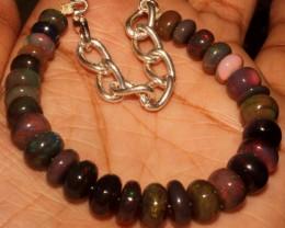 52 Crt Natural Ethiopian Fire Smoked Black Opal Beads Bracelet 0041