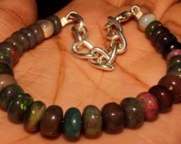 52 Crt Natural Ethiopian Fire Smoked Black Opal Beads Bracelet 0042
