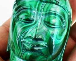 Genuine 1394.00 Cts Beautiful Malachite Buddha Head