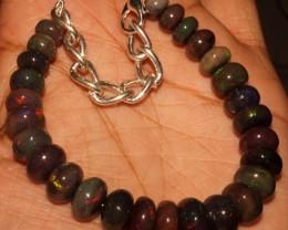 63 Crt Natural Ethiopian Fire Smoked Black Opal Beads Bracelet 0048
