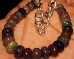 51 Crt Natural Ethiopian Fire Smoked Black Opal Beads Bracelet 0049
