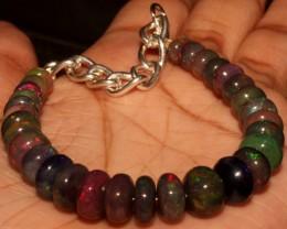 55 Crt Natural Ethiopian Fire Smoked Black Opal Beads Bracelet 0052