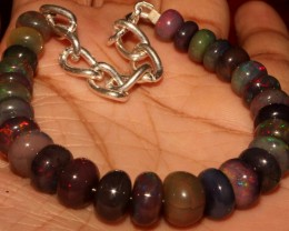 56  Crt Natural Ethiopian Fire Smoked Black Opal Beads Bracelet 0055