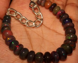 63 Crt Natural Ethiopian Fire Smoked Black Opal Beads Bracelet 0056