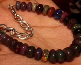 53 Crt Natural Ethiopian Fire Smoked Black Opal Beads Bracelet 0058