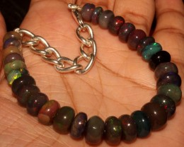 55  Crt Natural Ethiopian Fire Smoked Black Opal Beads Bracelet 0057