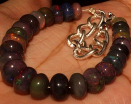 53 Crt Natural Ethiopian Fire Smoked Black Opal Beads Bracelet 0059
