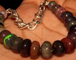 62 Crt Natural Ethiopian Fire Smoked Black Opal Beads Bracelet 0062